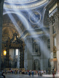 Tourists in the Interior of St. Peters Basilica in Rome, Lazio, Italy, Europe Photographic Print by Woolfitt Adam