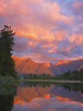 Sunset, Lake Matheson and Southern Alps, Westland, South Island, New Zealand, Pacific Photographic Print by Schlenker Jochen