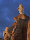 Statue of the Virgin and the Chapel of Notre Dame De La Serra, Near Calvi, Corsica, France Photographic Print by Tomlinson Ruth