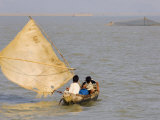 Boat on the Kaladan River, Myanmar Photographic Print by Schlenker Jochen