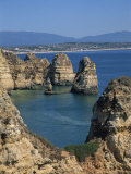 Sea Stacks, Cliffs and Rock Formations Along the Atlantic Coast of the Algarve, Portugal, Europe Photographic Print by Teegan Tom