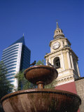 Church of San Francisco, Built Between 1586 and 1628, and Water Fountain, Santiago, Chile Photographic Print by Renner Geoff