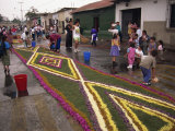 People Making Street Carpet for Good Friday Processions, Antigua, Guatemala, Central America Photographic Print by Simanor Eitan