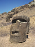 Close-Up of Moai Heads, Rano Raraku on Easter Island, Chile, Pacific Photographic Print by Renner Geoff
