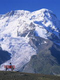 Hiker on Bench, the Breithorn and Breithorn Glacier, Rotenboden, Zermatt, Valais, Switzerland Photographic Print by Tomlinson Ruth