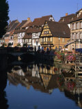 Timbered Houses Reflected in Water in the Evening, Petite Venise, Colmar, Haut-Rhin, Alsace, France Photographic Print by Tomlinson Ruth