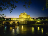 View across River Tiber to Illuminated Castel Sant&#39;Angelo at Dusk, Rome, Lazio, Italy, Europe Photographic Print by Tomlinson Ruth