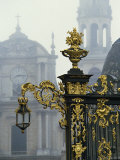 Gilded Wrought Iron Work and Lamp by Lamor in the Place Stanislas in Nancy, Lorraine, France Photographic Print by Woolfitt Adam