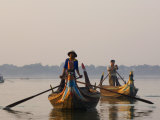 Boats on Thaungthaman Lake, Amarapura, Myanmar Photographic Print by Schlenker Jochen