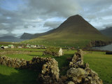 Landscape Containing Dry Stone Walls and a Small Settlement, Faroe Islands, Denmark, Europe Photographic Print by Woolfitt Adam