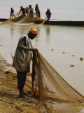 Fisherman Pulling Net Ashore, Niger River, Mali, West Africa, Africa Photographic Print by Poole David