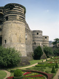 Formal Gardens and Walls of the Chateau D'Angers at Angers in the Pays De La Loire, France, Europe Photographic Print by Renner Geoff