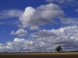 Blue Sky with White Clouds over Farmland Near Burford, Oxfordshire, England, United Kingdom, Europe Photographic Print by Short Michael