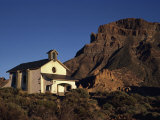White Church in Rough Desert Below a Rocky Hill in the Canadas Del Teide National Park, Tenerife Photographic Print by Tomlinson Ruth