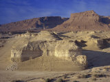 Rock Cliffs and Sand Dunes in Front of the Fortress of Masada, Judean Desert, Israel, Middle East Photographic Print by Simanor Eitan