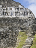 Frieze and Steps Up to the 130Ft High El Castillo, Mayan Site, Xunantunich, San Ignacio, Belize Photographic Print by Jane Sweeney