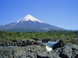 Cone of Volcan Osorno from the Petrohue Falls Near Puerto Montt, Chile, South America Photographic Print by Renner Geoff