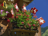 Display of Flags to Mark Swiss National Day, Lauterbrunnen, Bern, Swizerland, Europe Photographic Print by Tomlinson Ruth