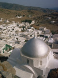 Church with Silver Dome and White Houses on Ios, Cyclades Islands, Greek Islands, Greece, Europe Photographic Print by Woolfitt Adam