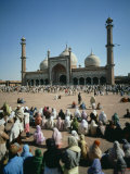 Friday Service at the Moti Masjid Mosque, Red Fort, Agra, Uttar Pradesh, India Photographic Print by Tovy Adina