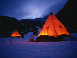 Tilley Lamps Light Two Man Pyramid Tents at Night on the Snow in Antarctica, Polar Regions Photographic Print by Renner Geoff