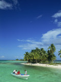Tourists in Boat, Laughing Bird Cay, Belize, Central America Photographic Print by Strachan James