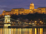 Chain Bridge over the River Danube with King's Palace Beyond, Budapest, Hungary Photographic Print by Edwardes Guy