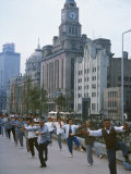 Early Morning Tai Chi in Front of Old Customs House, Shanghai, China Photographic Print by Waltham Tony