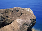 Bird Man Petroglyph at Orongo Ceremonial Village on Crater Rim of Rano Kau on Easter Island, Chile Photographic Print by Renner Geoff