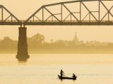 Boat and Ava Bridge, Ayeyarwaddy River, Myanmar Photographic Print by Schlenker Jochen