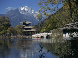 Black Dragon Pool Park with Bridge and Pagoda, Lijiang, Yunnan Province, China Photographic Print by Traverso Doug