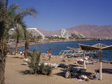 Beach and Hotels, Eilat, Israel, Middle East Photographic Print by Simanor Eitan