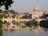 View of the S. Angelo Bridge on the Tiber River, Rome, Lazio, Italy, Europe Photographic Print by Olivieri Oliviero