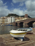 Boats Beside a Bridge over the Temo River at Bosa on the Island of Sardinia, Italy, Europe Photographic Print by Terry Sheila