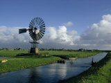 Water Control Dykes and Windmill, Friejeland, Holland, Europe Photographic Print by Woolfitt Adam