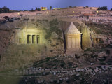 Jehoshafat and Zacharia's Tombs at Dusk, Kidron Valley, Jerusalem, Israel, Middle East Photographic Print by Simanor Eitan