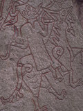 Witch from Icelandic Edda Riding a Wolf, Detail of Standing Stone Circa 1000Ad, Lund, Sweden Photographic Print by Ryan Peter
