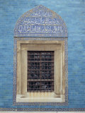 Detail of Window with Arabic Script on Tilework Above, Green Mosque in Bursa, Anatolia, Turkey Photographic Print by Woolfitt Adam