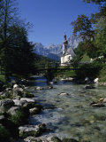 River Running Past the Church in Ramsau, Near Berchtesgaden, Bavaria, Germany, Europe Photographic Print by Merten Hans Peter
