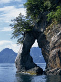 Natural Arch on Edge of Threehole Bay, Kenai Fjords, Aialik Peninsula, Alaska, USA Photographic Print by Waltham Tony