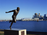 H W Jerome Statue with the City Skyline of Vancouver in the Background, British Columbia, Canada Photographic Print by Merten Hans Peter