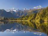Lake Matheson, Mount Tasman and Mount Cook, Westland, South Island, New Zealand, Pacific Photographic Print by Schlenker Jochen