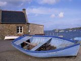 Blue Boat on Shore with the Harbour of Le Fret Behind, Brittany, France, Europe Photographic Print by Thouvenin Guy