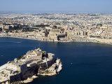 Valletta, Grand Harbour and St. Angel Fort in Vittoriosa or Birgu, Malta, Mediterranean Photographic Print by Tondini Nico