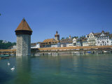 Chapel Bridge and Water Tower with the City of Lucerne Beyond, Switzerland, Europe Photographic Print by Rainford Roy