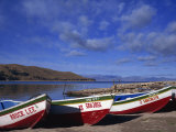 Three Fishing Boats Pulled onto Shore of Lake Titicaca, Copacabana, Bolivia, South America Photographic Print by Simanor Eitan