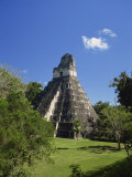 Temple II Looking across Great Plaza, Tikal, UNESCO World Heritage Site, Guatemala, Central America Photographic Print by Traverso Doug