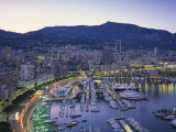 Marina, Waterfront and Town of Monte Carlo in the Evening, Monaco, Mediterranean, Europe Reproduction photographique par Rainford Roy