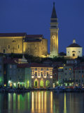 Waterfront Buildings, Clock Tower and Church at Night on the Harbour at Piran, Slovenia, Europe Photographic Print by Richardson Rolf