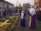 Christ's Calvary in Good Friday Procession over Street Carpet, Antigua, Guatemala, Central America Photographic Print by Simanor Eitan